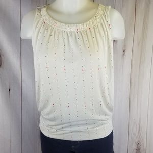 Loft Outlet S Polka Dotted White Bubble Sleeveless